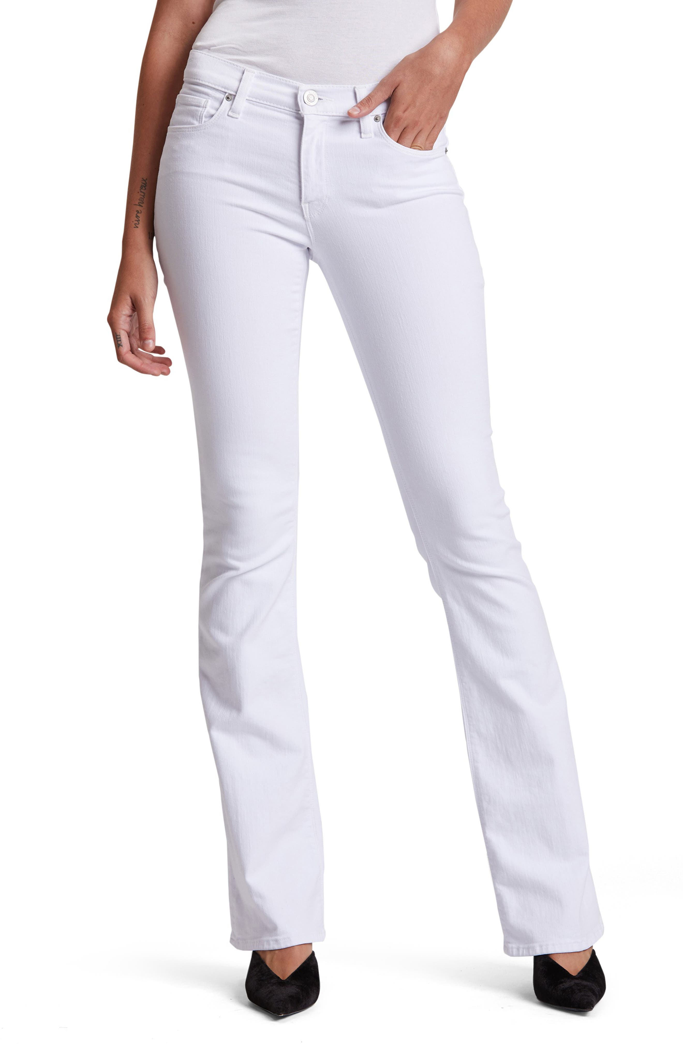 Mid-rise bootcut jeans in a polished white wash are crafted from soft, shape-retaining stretch denim that allows for optimal movement. Style Name: Hudson Jeans Drew Bootcut Jeans. Style Number: 5790270. Available in stores.