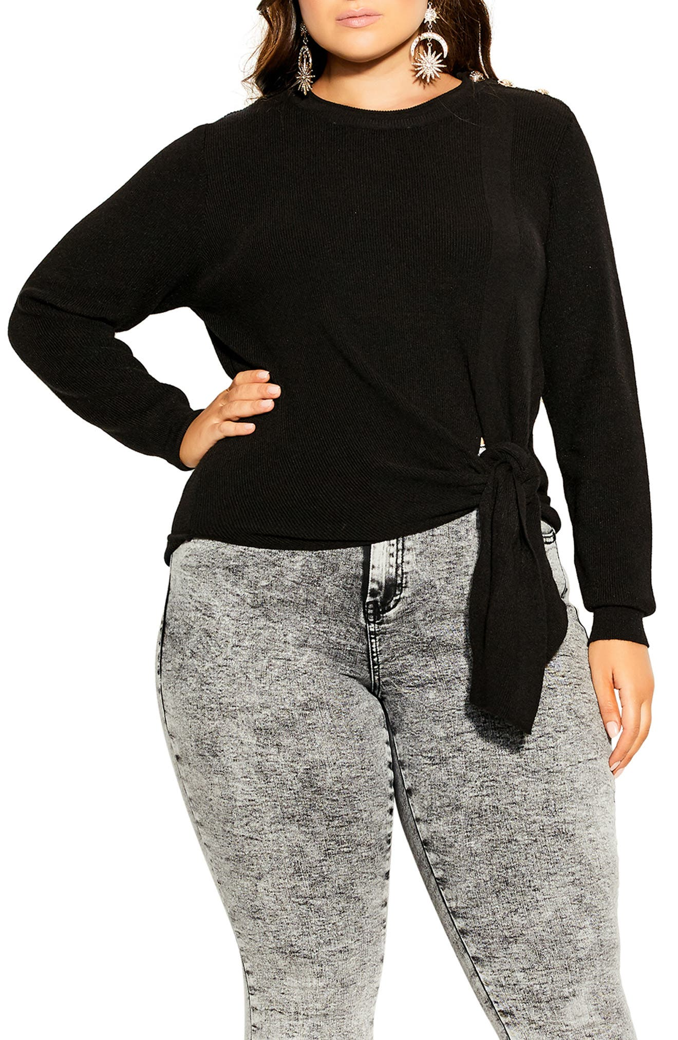 Royal Button Detail Tie Front Sweater