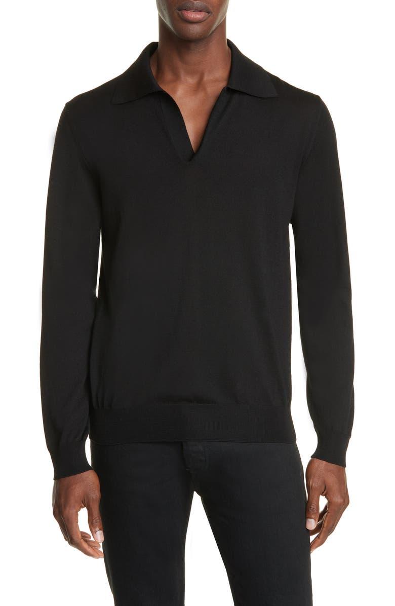 MAISON MARGIELA Wool Polo Sweater, Main, color, BLACK