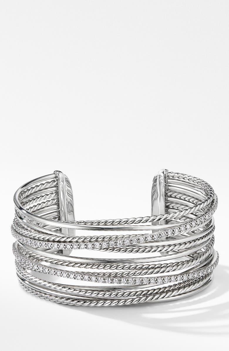 DAVID YURMAN Crossover Cuff Bracelet with Diamonds, Main, color, SILVER/ DIAMOND