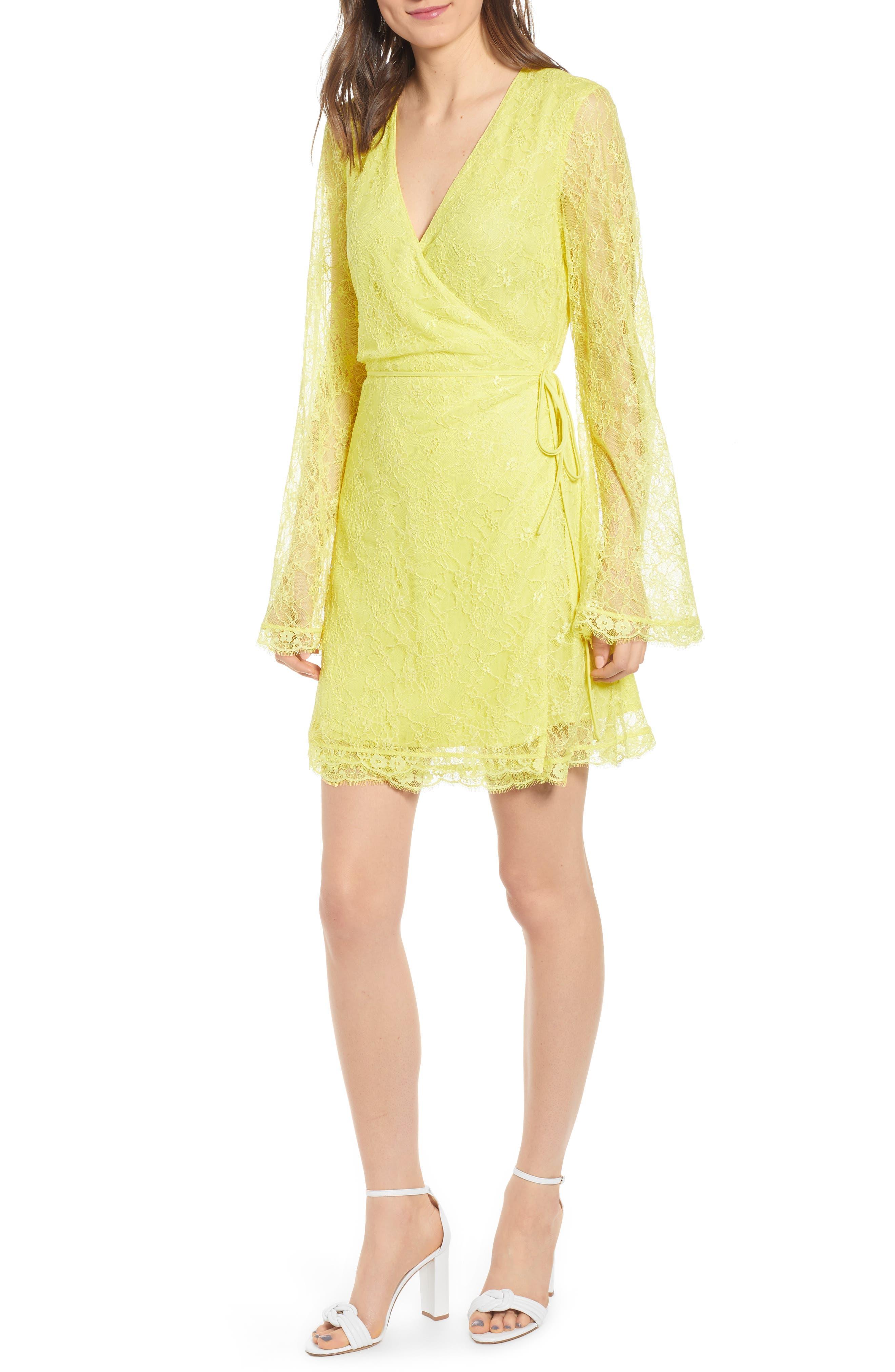 ,                             Lesley Lace Long Sleeve Wrap Dress,                             Main thumbnail 1, color,                             CITRON YELLOW