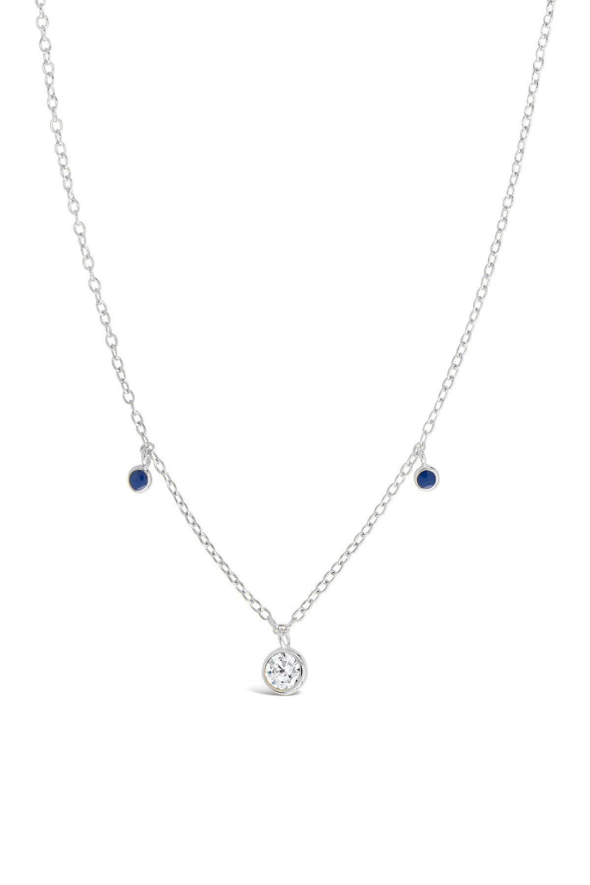 Image of Sterling Forever Sterling Silver Blue Enamel & CZ Charm Necklace