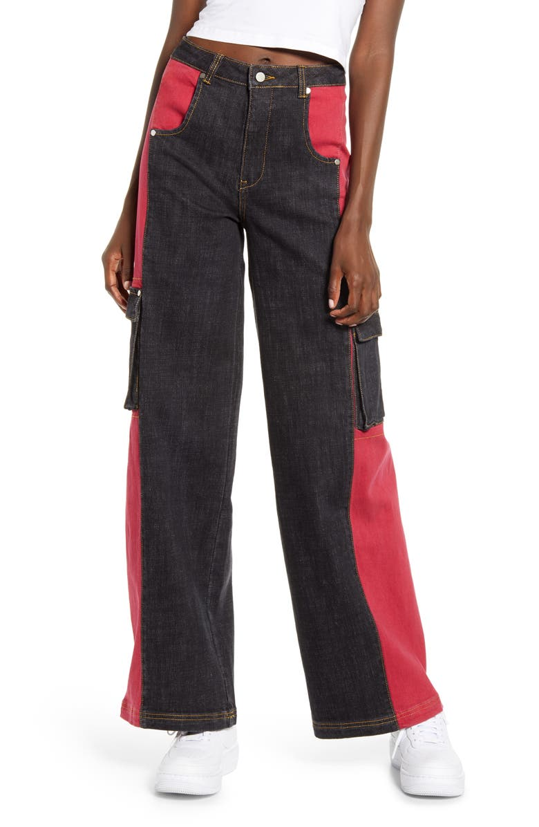I.AM.GIA Bessi High Waist Wide Leg Cargo Jeans, Main, color, BLACK/ RED