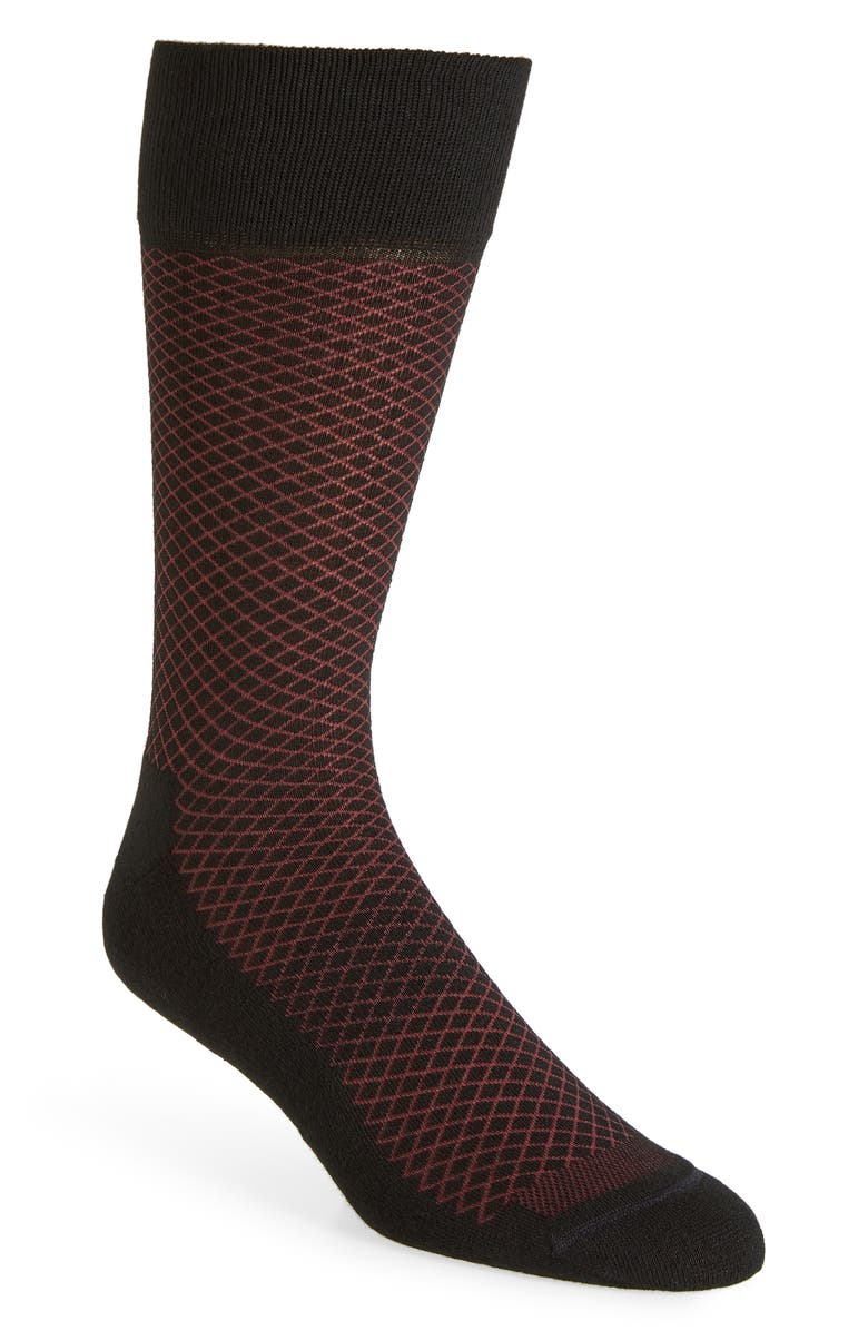 NORDSTROM MEN'S SHOP Diamond Socks, Main, color, BLACK/ BURGUNDY