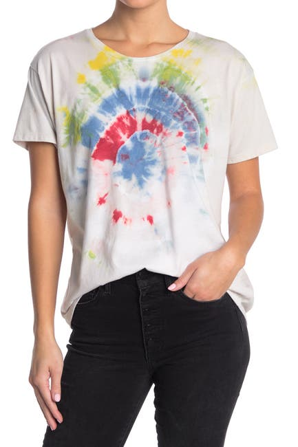 Image of The Laundry Room Classic Crop Tie Dye Print Sleep T-Shirt
