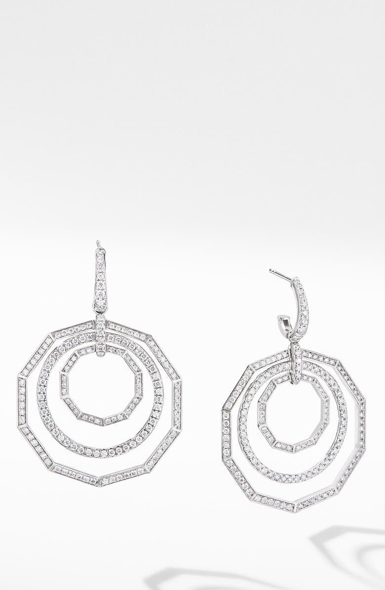 DAVID YURMAN Stax Full Pavé 18k White Gold Drop Earrings, Main, color, WHITE GOLD/ DIAMOND