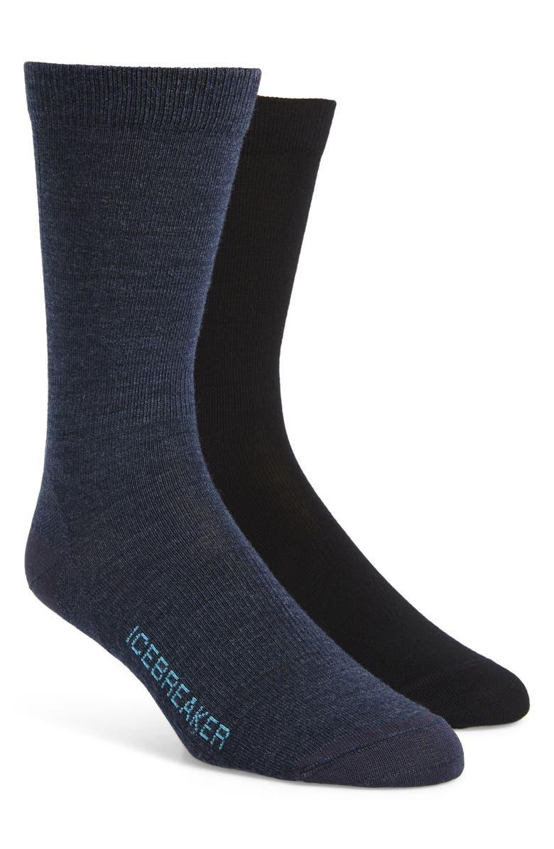 ICEBREAKER Lifestyle 2-Pack Merino Wool Blend Ultralight Crew Socks, Main, color, 020