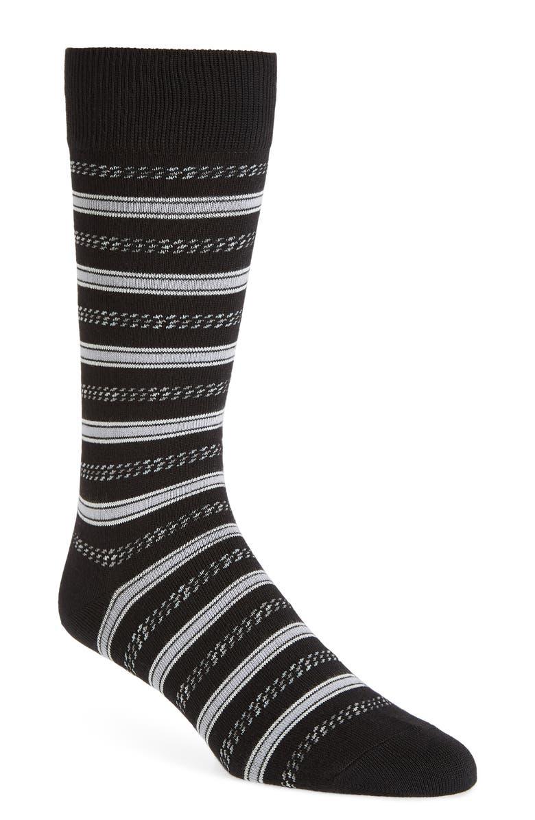 NORDSTROM MEN'S SHOP Ultrasoft Twisted Stripe Socks, Main, color, BLACK/ GREY