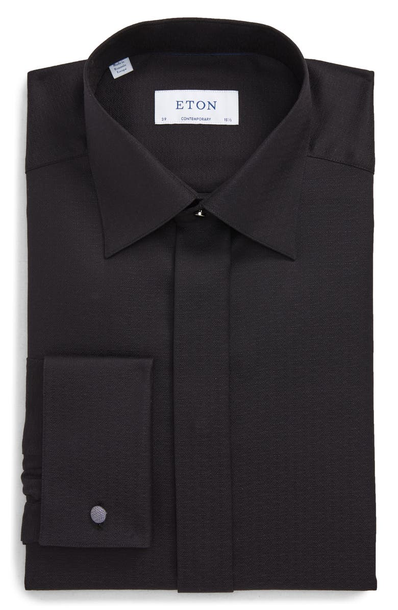 ETON Contemporary Fit Tuxedo Shirt, Main, color, BLACK