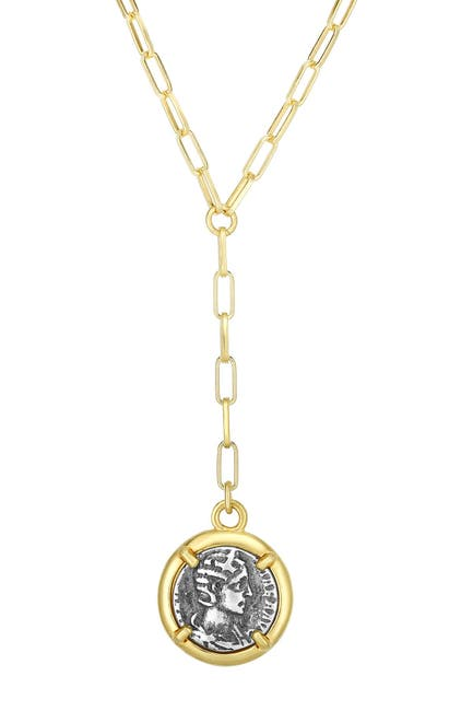Image of Sphera Milano 14K Yellow Gold Plated Sterling Silver Y-Drop Coin Pendant Necklace