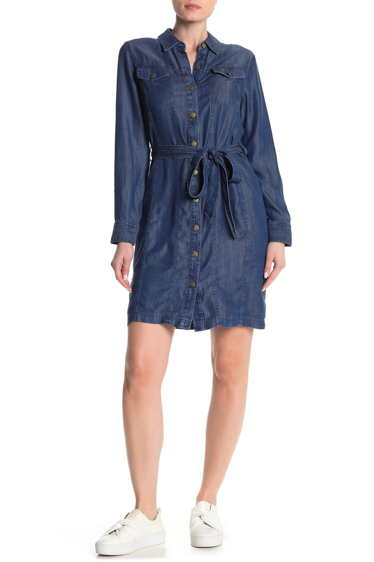 Image of Calvin Klein Button Front Shirt Dress