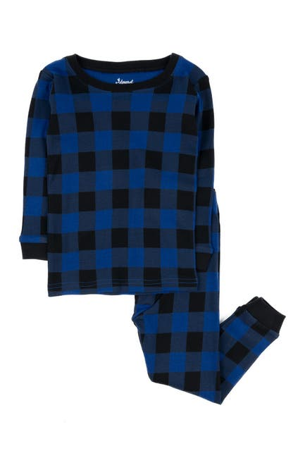 Image of Leveret Black and Navy Plaid 2-Piece Pajama Set