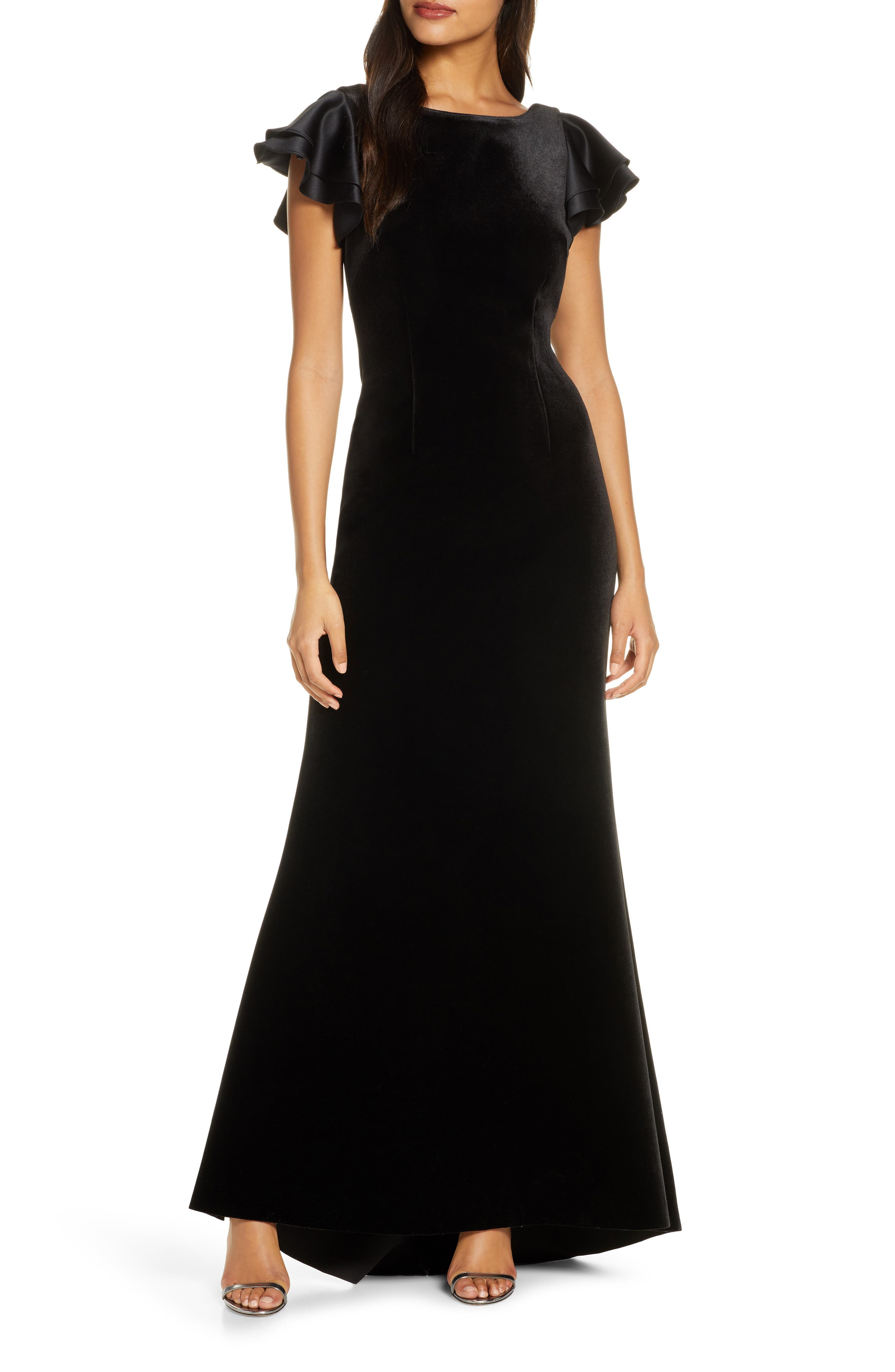 1930s Style Clothing and Fashion Womens Eliza J Satin Sleeve Velvet Trumpet Gown $131.60 AT vintagedancer.com