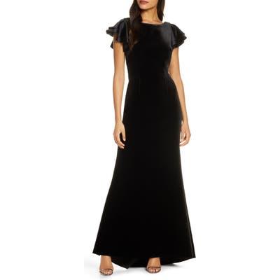 Eliza J Satin Sleeve Velvet Trumpet Gown, Black