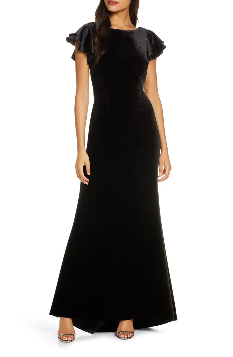 ELIZA J Satin Sleeve Velvet Trumpet Gown, Main, color, BLACK