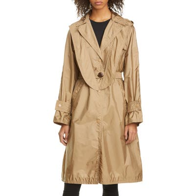 Moncler Vanille Tie Hood Water Resistant Trench Coat, (fits like 2-4 US) - Beige