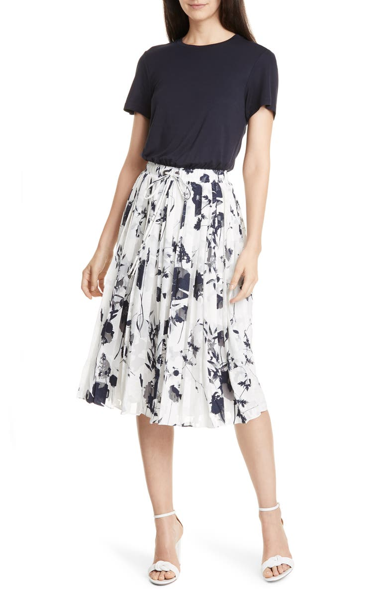 TED BAKER LONDON Bekzi Bluebell Mock Two-Piece Pleated Dress, Main, color, NAVY