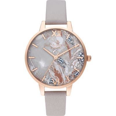 Olivia Burton Abstract Florals Leather Strap Watch,