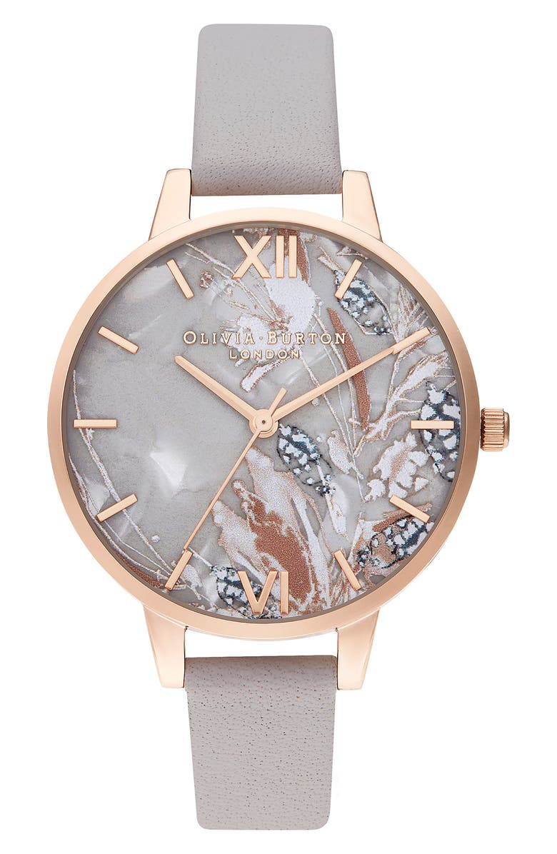 OLIVIA BURTON Abstract Florals Leather Strap Watch, 34mm, Main, color, GREY LILAC/ FLORAL/ ROSE GOLD