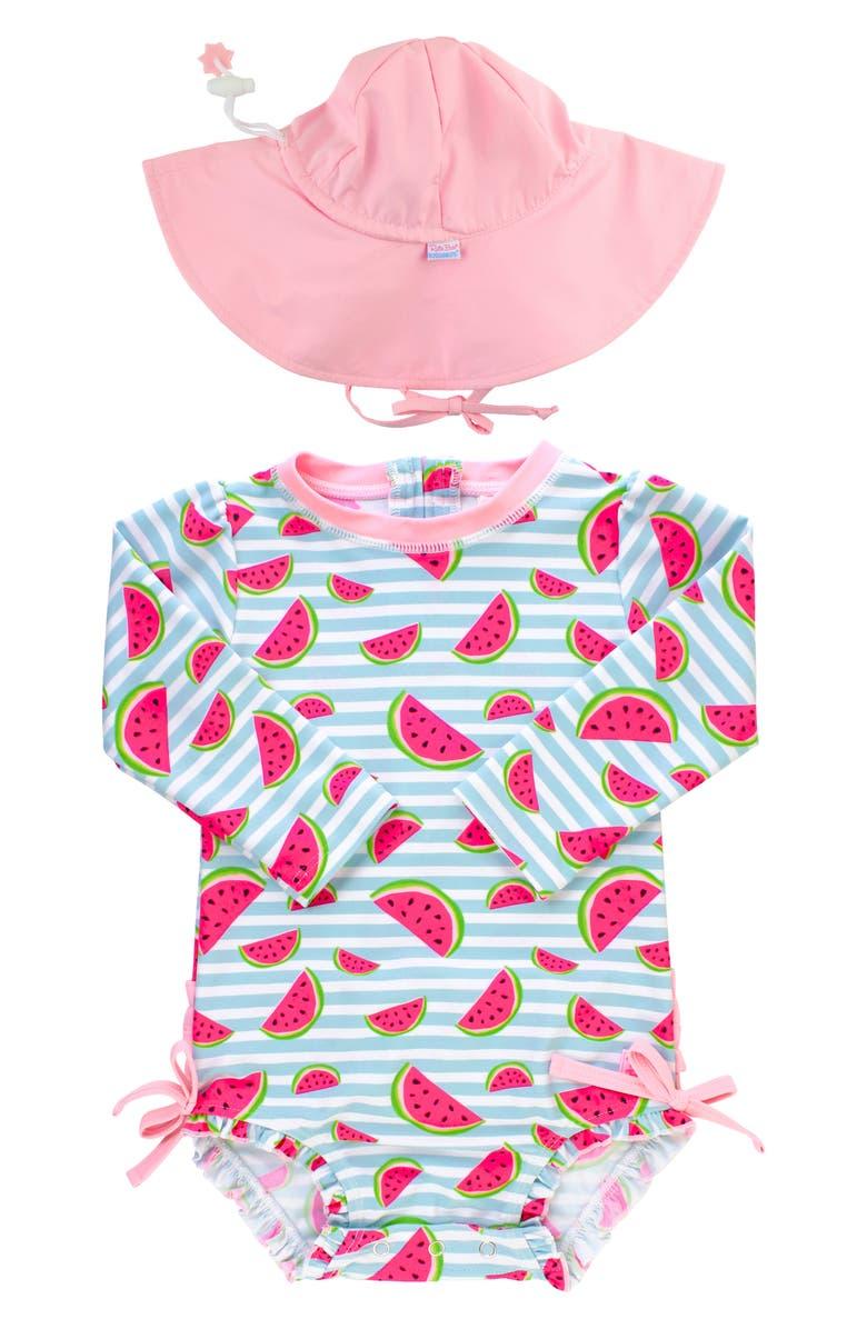 RUFFLEBUTTS Watermelon One-Piece Rashguard Swimsuit & Hat Set, Main, color, BLUE
