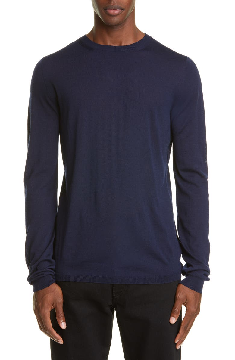BOTTEGA VENETA Crewneck Merino Wool Sweater, Main, color, NAVY