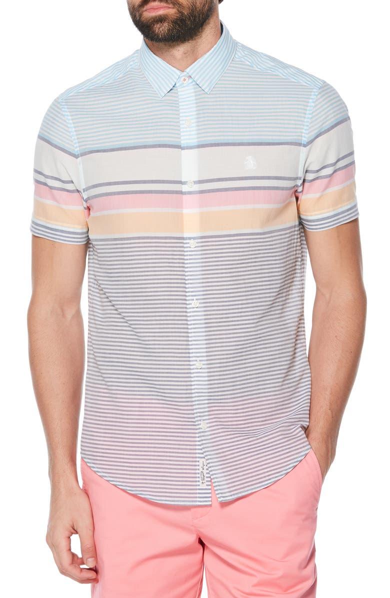 ORIGINAL PENGUIN Slim Fit Engineered Stripe Woven Shirt, Main, color, SARGASSO SEA