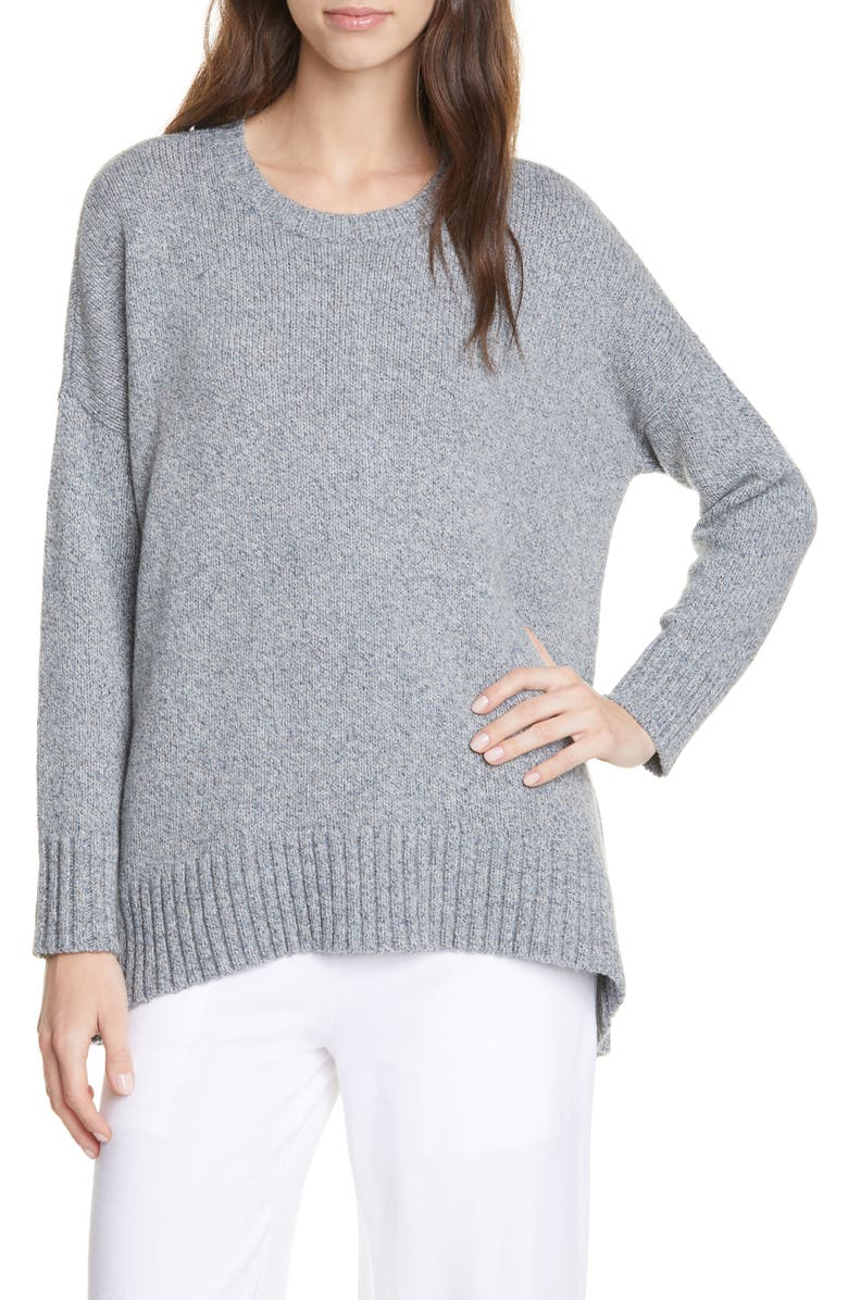EILEEN FISHER Oversize Crewneck Pullover, Main, color, GEYSER