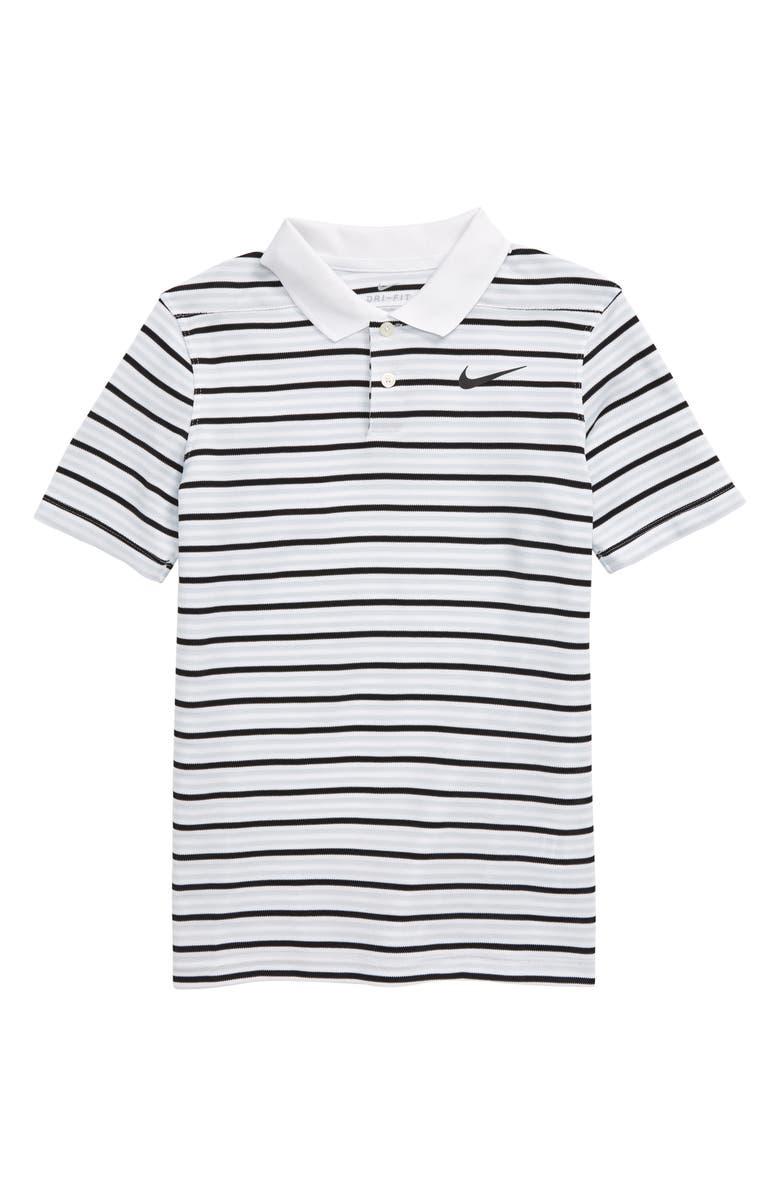 NIKE Dri-FIT Victory Stripe Golf Polo, Main, color, 100