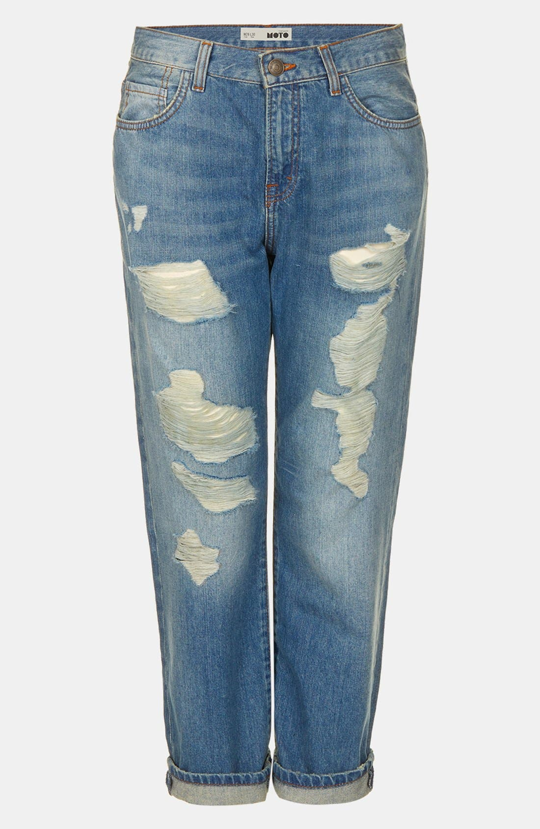 ,                             Moto 'Kevin' Ripped Boyfriend Jeans,                             Alternate thumbnail 2, color,                             420