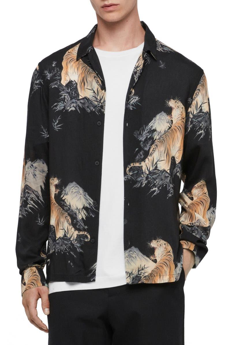 ALLSAINTS Kayan Regular Fit Button-Up Shirt, Main, color, JET BLACK