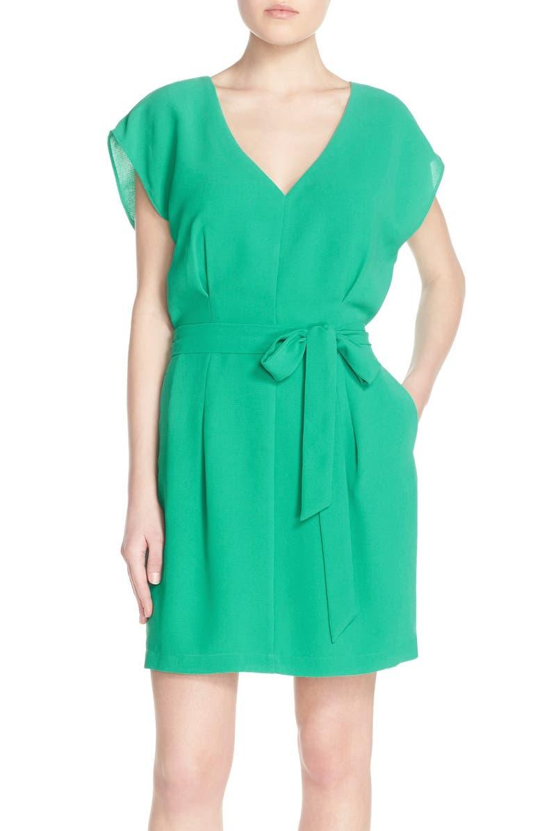 ADELYN RAE Belted Short Sleeve V-Neck Dress, Main, color, 330