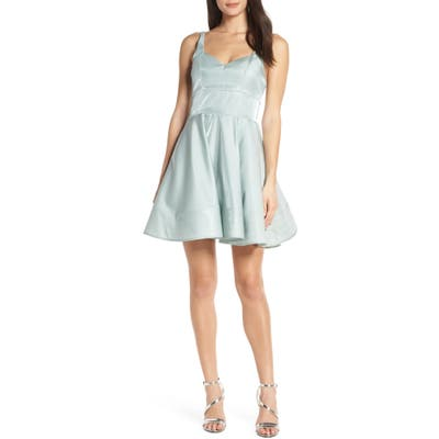 Sequin Hearts Shimmer Satin Skater Dress, Green