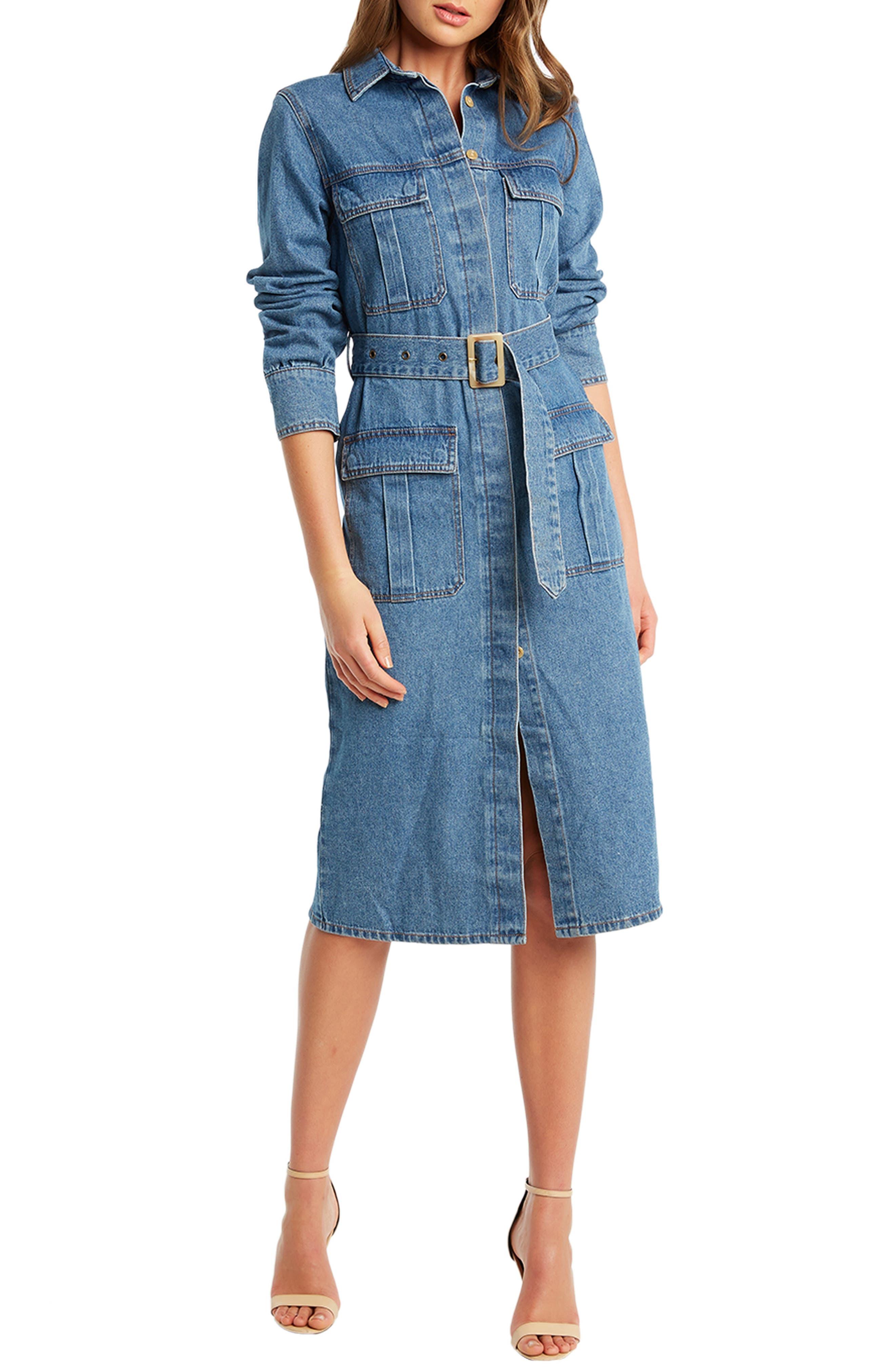 70s Outfits – 70s Style Ideas for Women Womens Bardot Long Sleeve Denim Shirtdress $109.00 AT vintagedancer.com