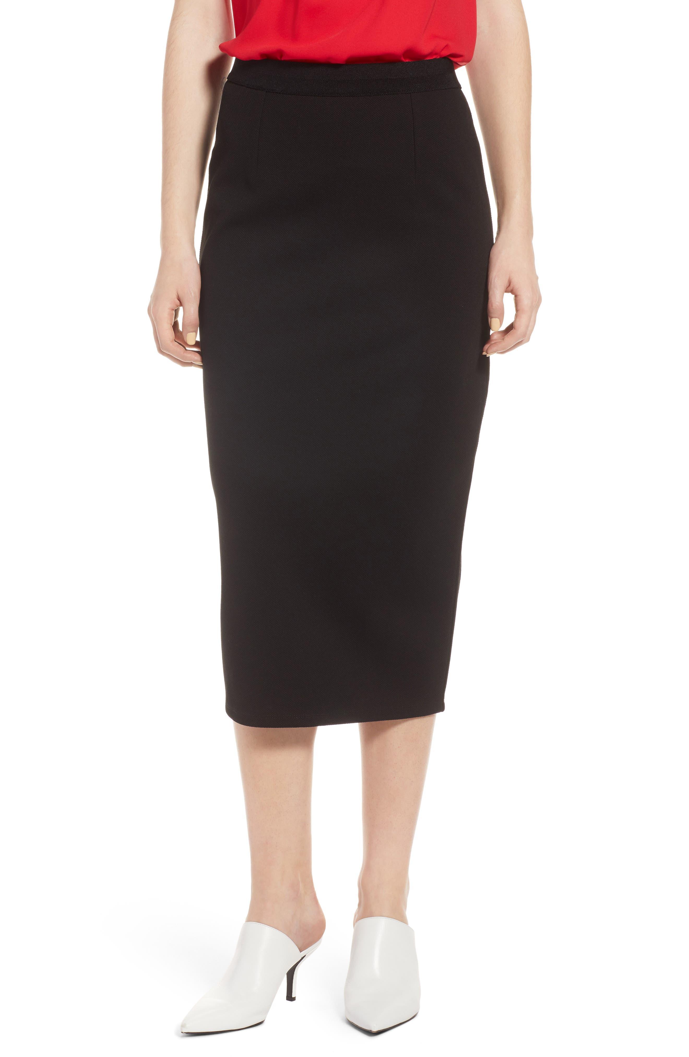 Halogen Pique Ponte Skirt, Black