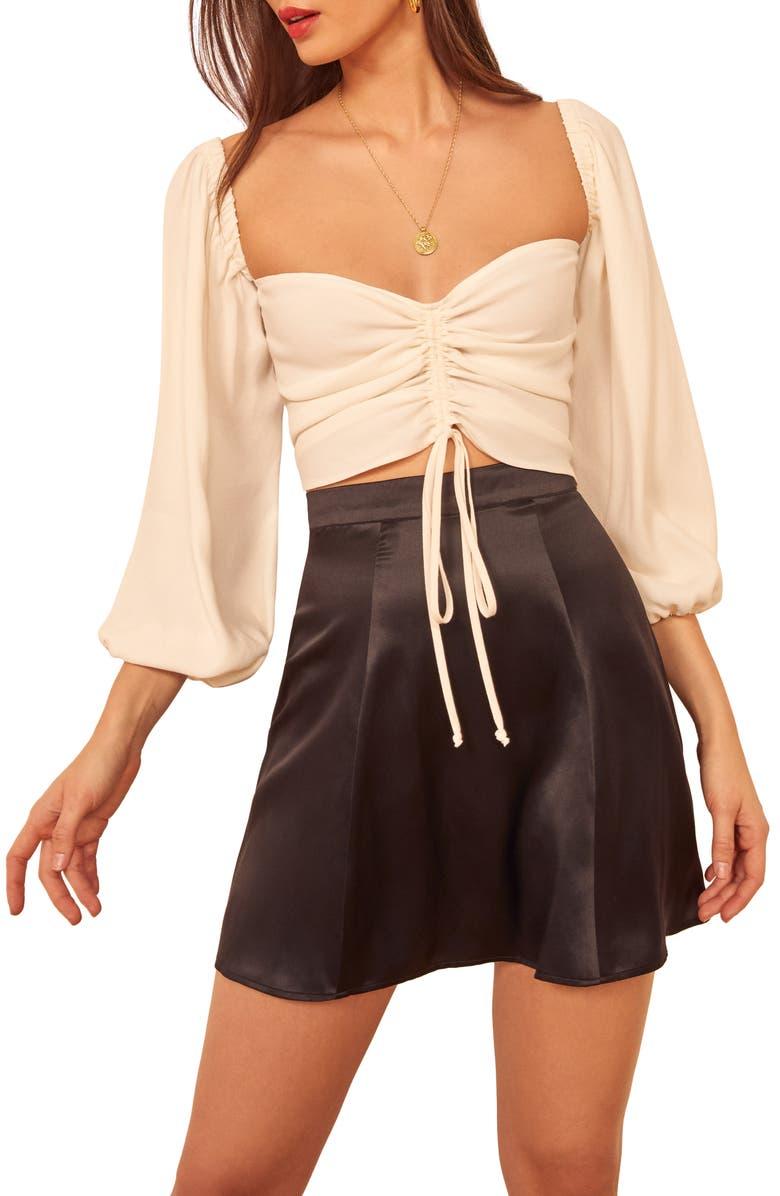 REFORMATION Demie Silk Miniskirt, Main, color, 005