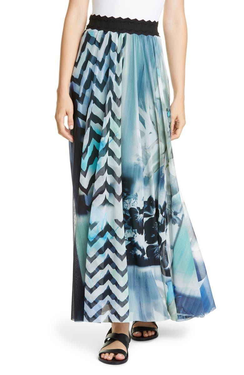 FUZZI Floral & Chevron Print Maxi Skirt, Main, color, BLUEBERRY