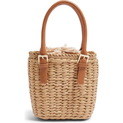 Topshop Sandy Straw Mini Grab Bag - Beige