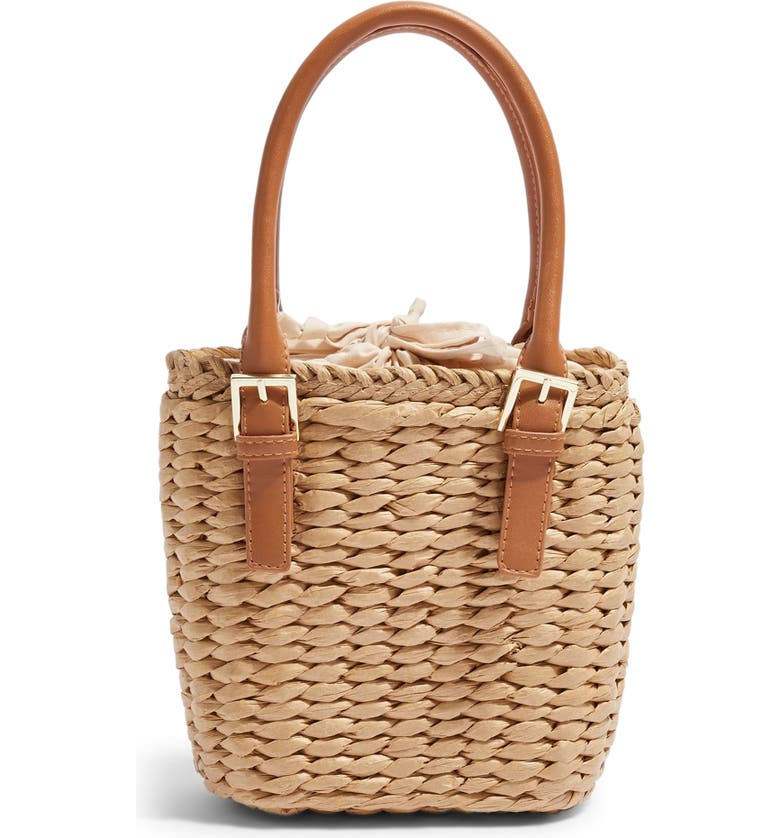 TOPSHOP Sandy Straw Mini Grab Bag, Main, color, NUDE