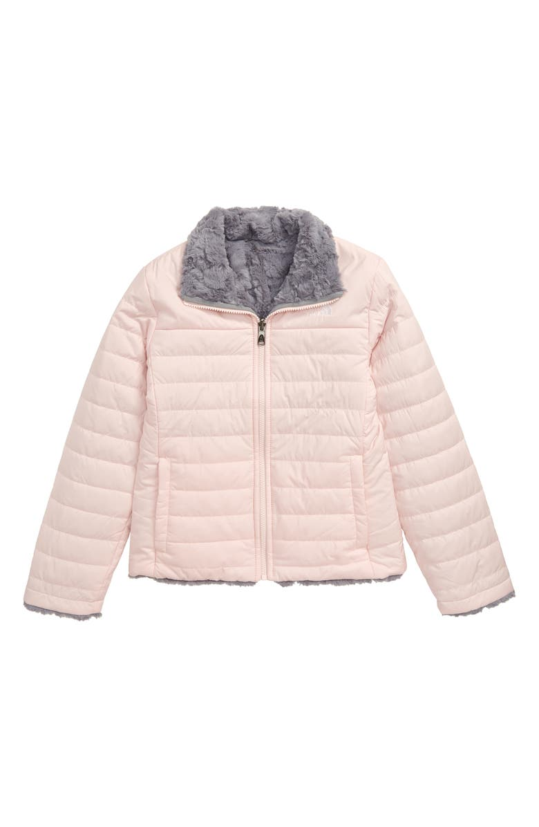 THE NORTH FACE Mossbud Swirl Reversible Water Repellent Heatseeker<sup>™</sup> Jacket, Main, color, PURDY PINK