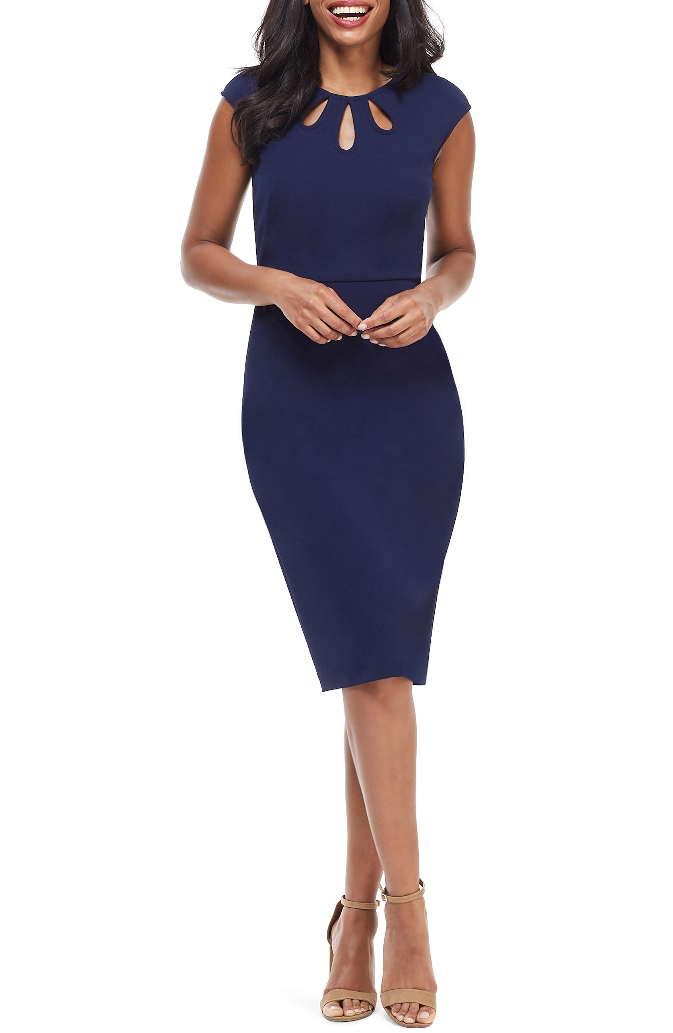 Maggy London Teardrop Jewel Neck Scuba Crepe Dress, Blue