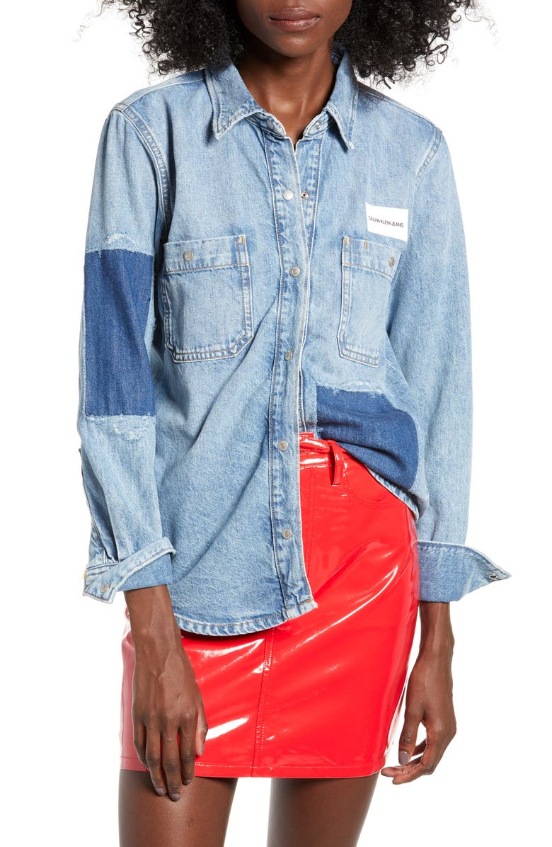 89065fb1f1 Calvin Klein Jeans Utility Patch Denim Shirt   Nordstrom