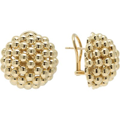 Lagos Caviar Gold Dome Omega Earrings