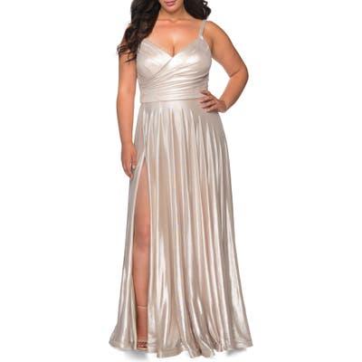 Plus Size La Femme Metallic Pleat Jersey Gown, Metallic