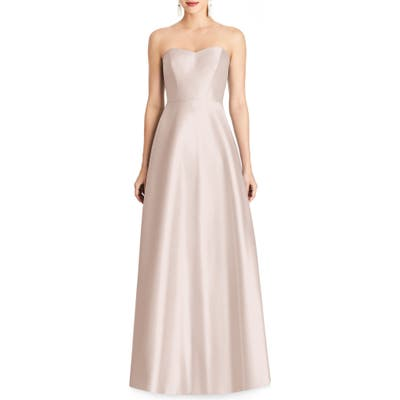Plus Size Alfred Sung Strapless Sateen Gown, Pink