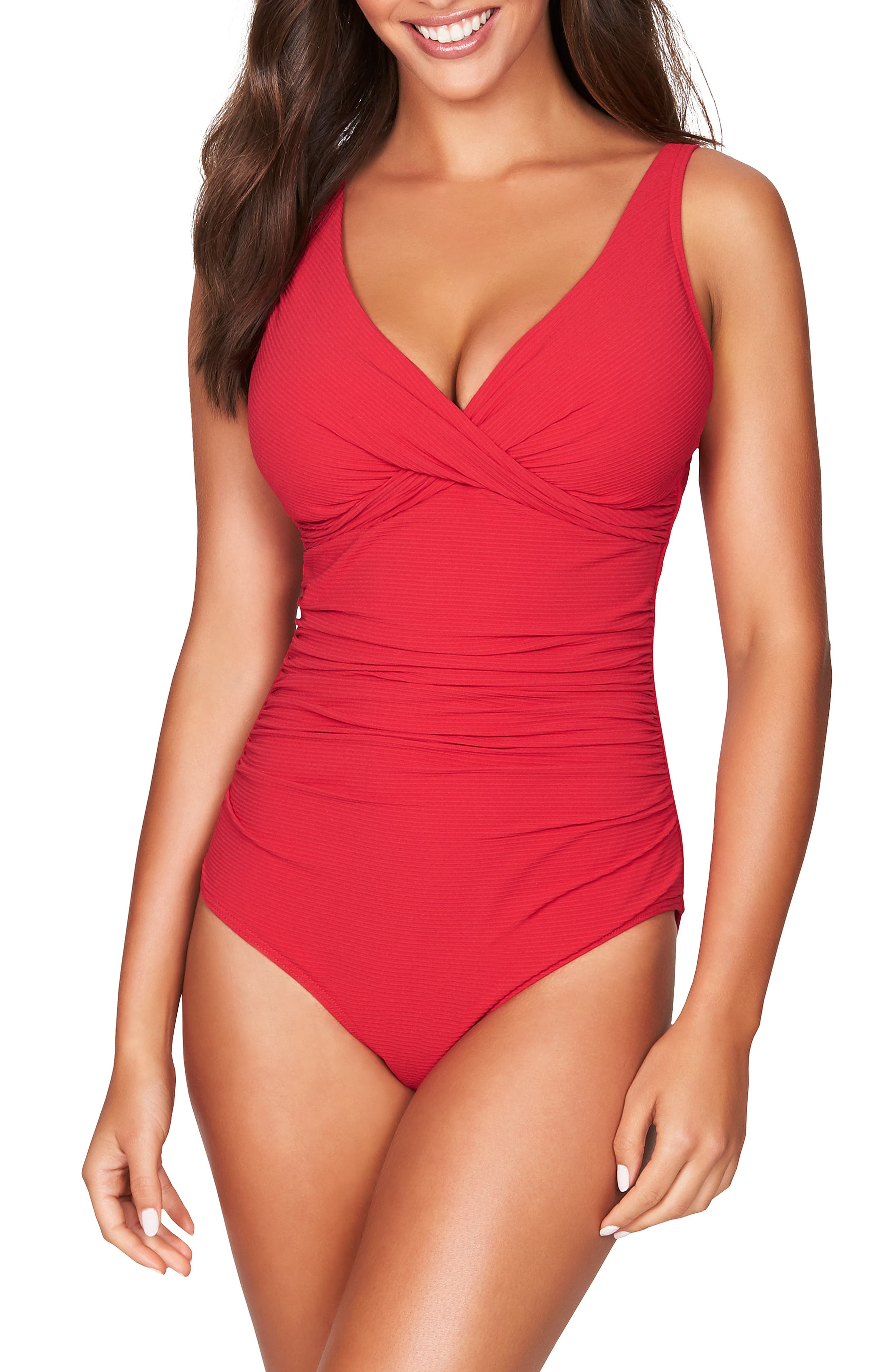 Sea Level Cross Front Multifit One-Piece Swimsuit, Red