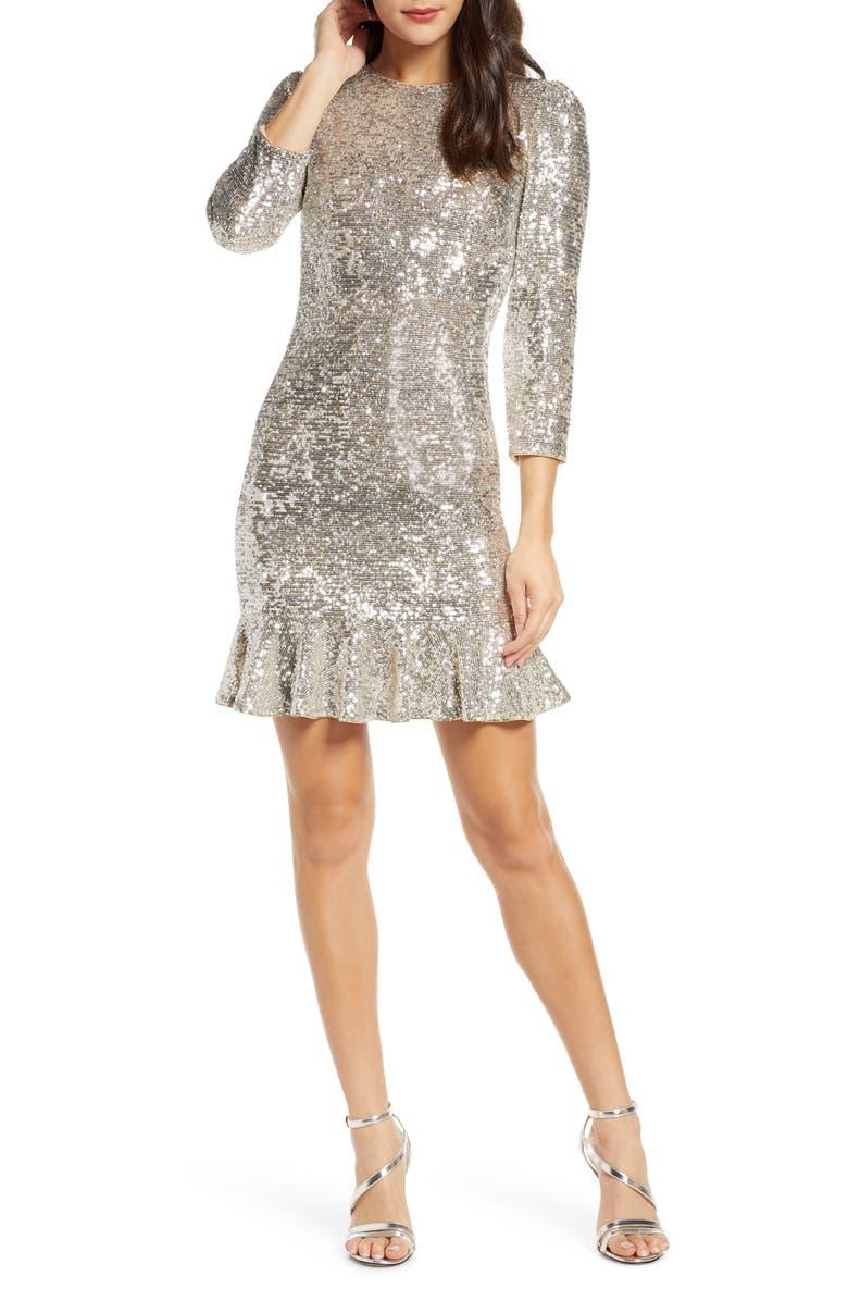 ALI & JAY Sparkle & Shine Sequin Minidress, Main, color, SILVER SEQUIN