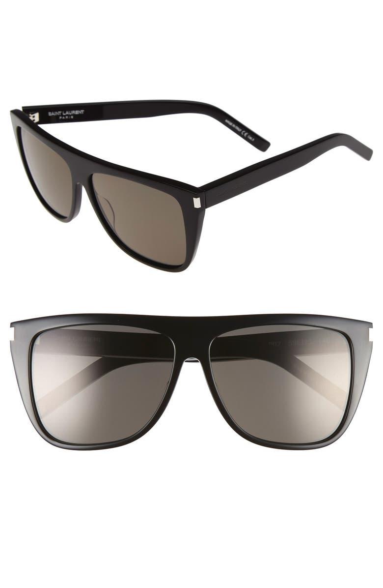 SAINT LAURENT 59mm Sunglasses, Main, color, BLACK/ SMOKE