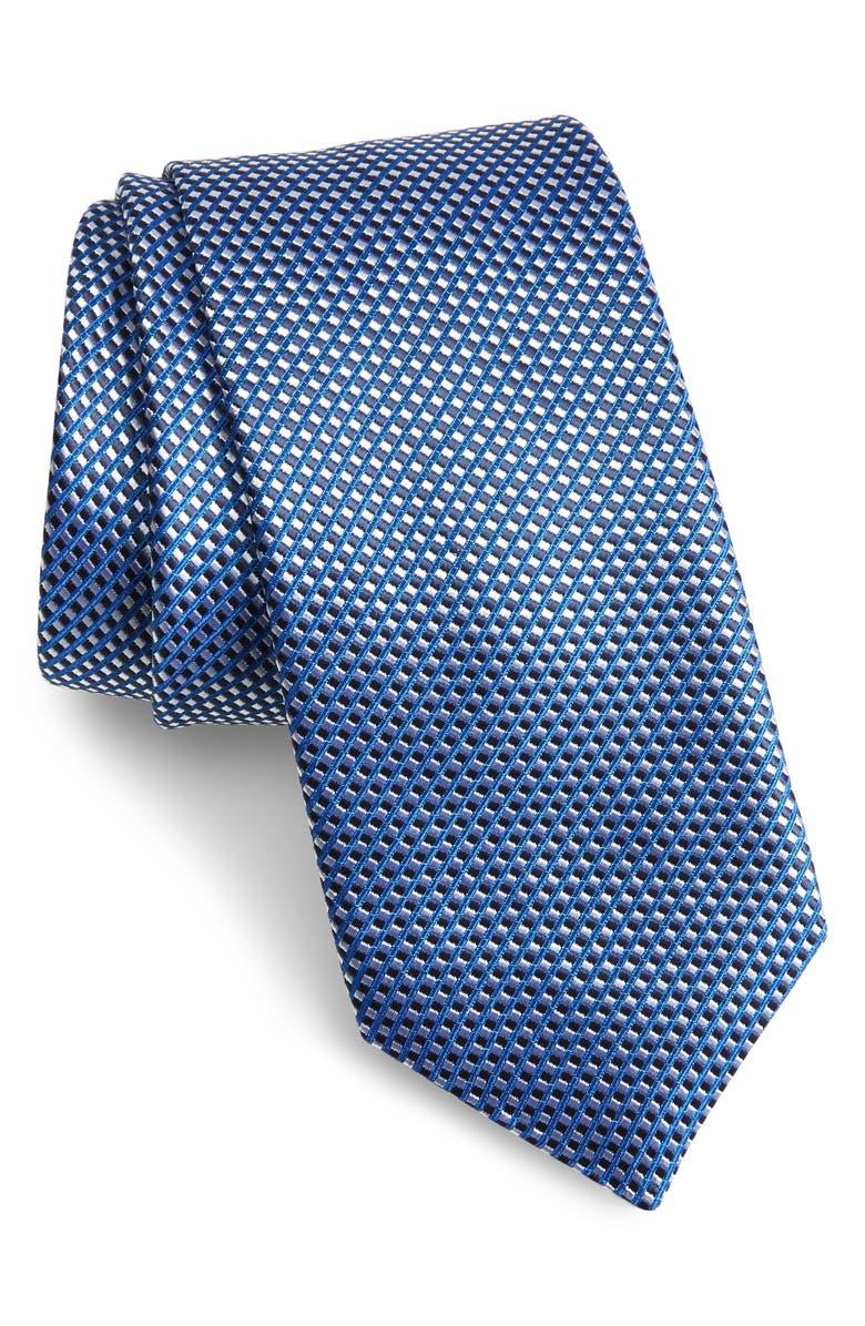 BOSS Geometric Grid Tie, Main, color, BLUE