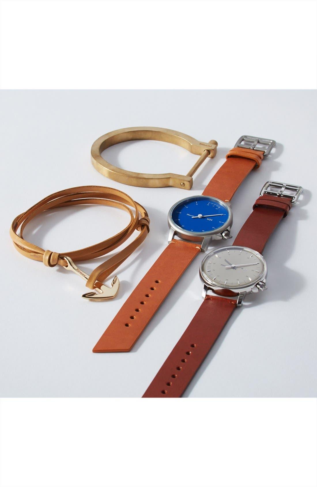 ,                             Gold Anchor Leather Bracelet,                             Alternate thumbnail 2, color,                             001