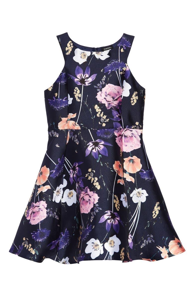 ZUNIE Sleeveless Floral Print Mikado Dress, Main, color, NAVY/ MULTI